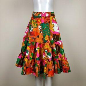 Vintage Multicoloured Midi Skirt
